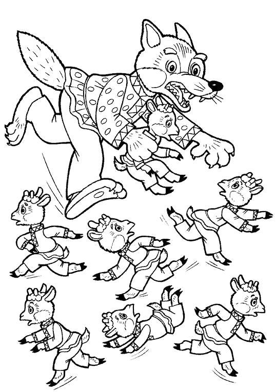 Раскраска  волк бежит за козлятами. Скачать .  Распечатать