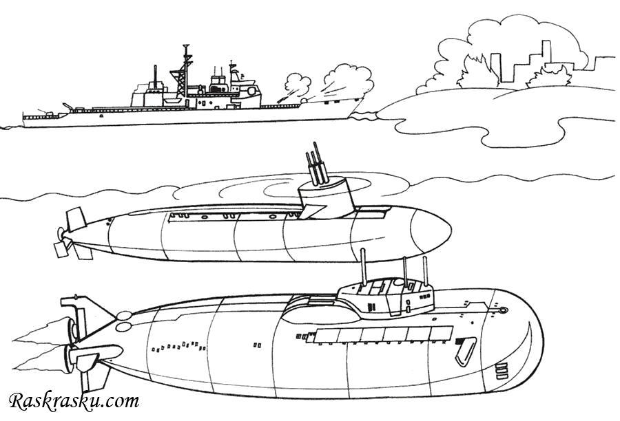 Раскраска Лодка под водой. Скачать Кораблик.  Распечатать Кораблик