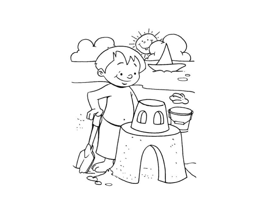 Раскраска  песочный замок, мальчик лепит песочный замок. Скачать Замок.  Распечатать Замок