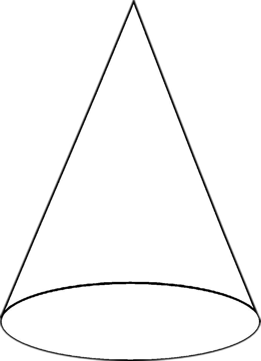 Раскраска  геометрические фигуры из бумаги конус шаблон для вырезания из бумаги, контур для вырезания. Скачать круг, овал, треугольник.  Распечатать геометрические фигуры