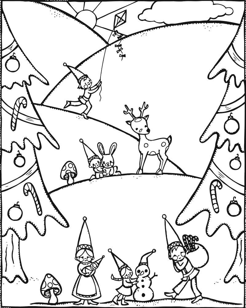 Раскраска Гномы на елке. Скачать гном.  Распечатать гном