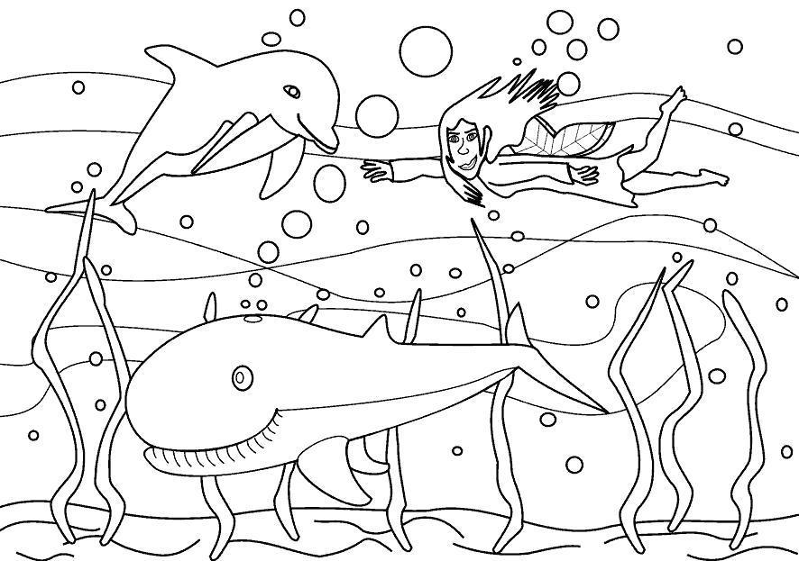 Раскраска Морские обитатели под водой. Скачать .  Распечатать