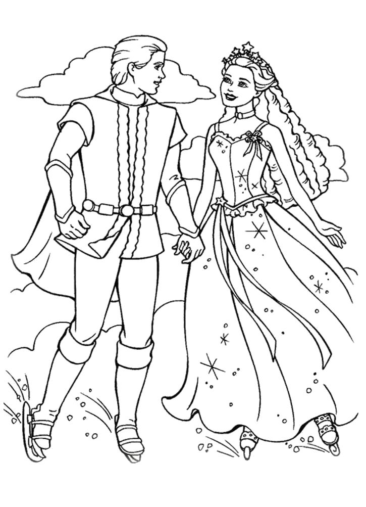 Раскраска  Барби с Кеном на коньках. Скачать барби.  Распечатать барби