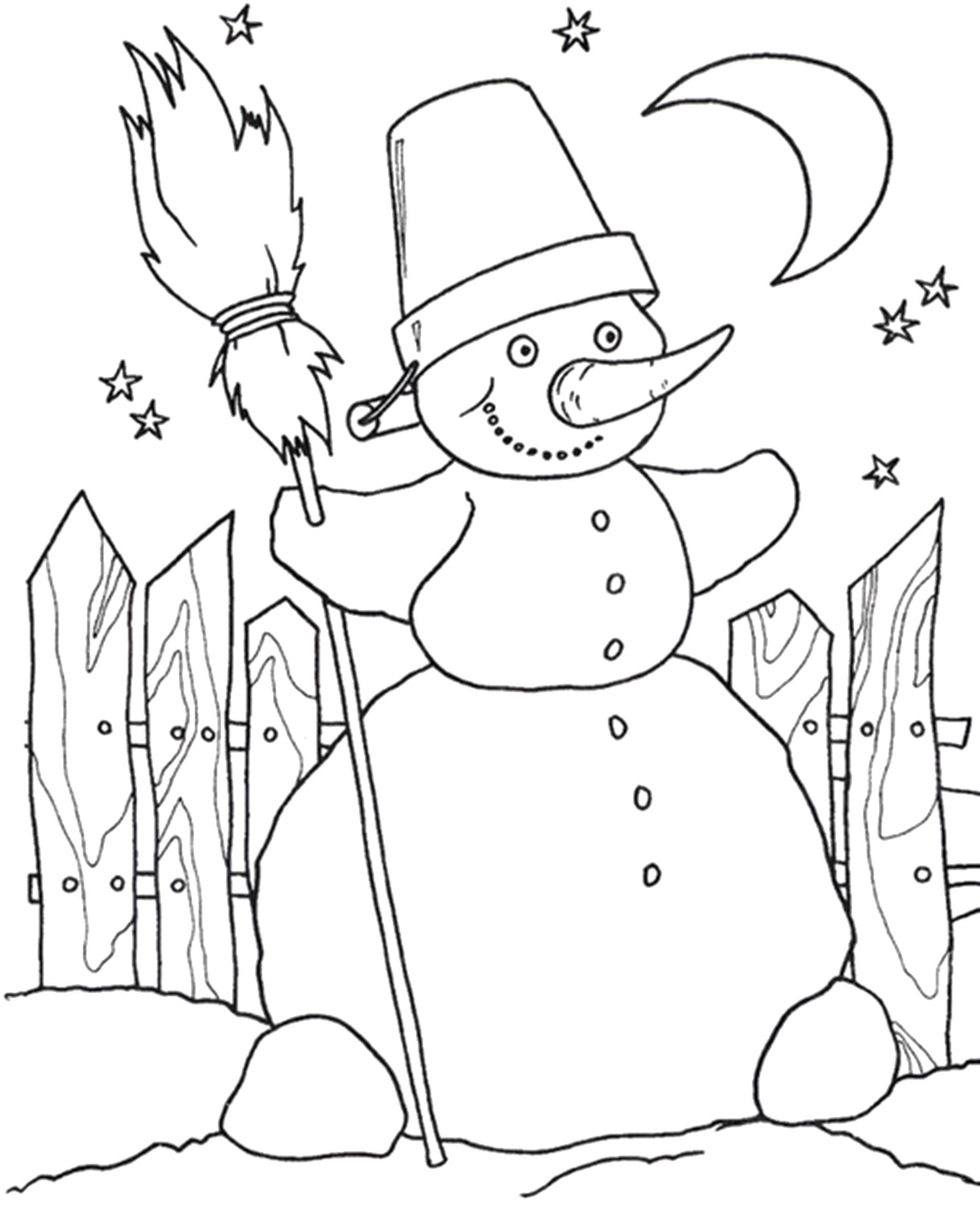 Раскраска снеговик радуется зиме. Скачать новогодние.  Распечатать новогодние
