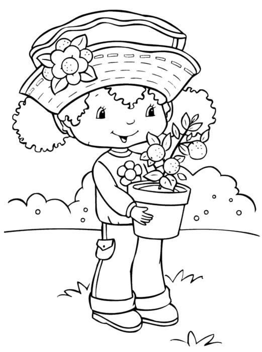 Раскраска мальчик с горшочком цветов. Скачать .  Распечатать
