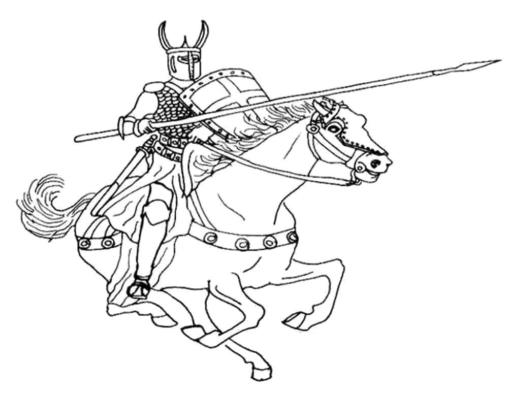 Раскраска Рыцарь скачет на коне. Скачать рыцари.  Распечатать рыцари