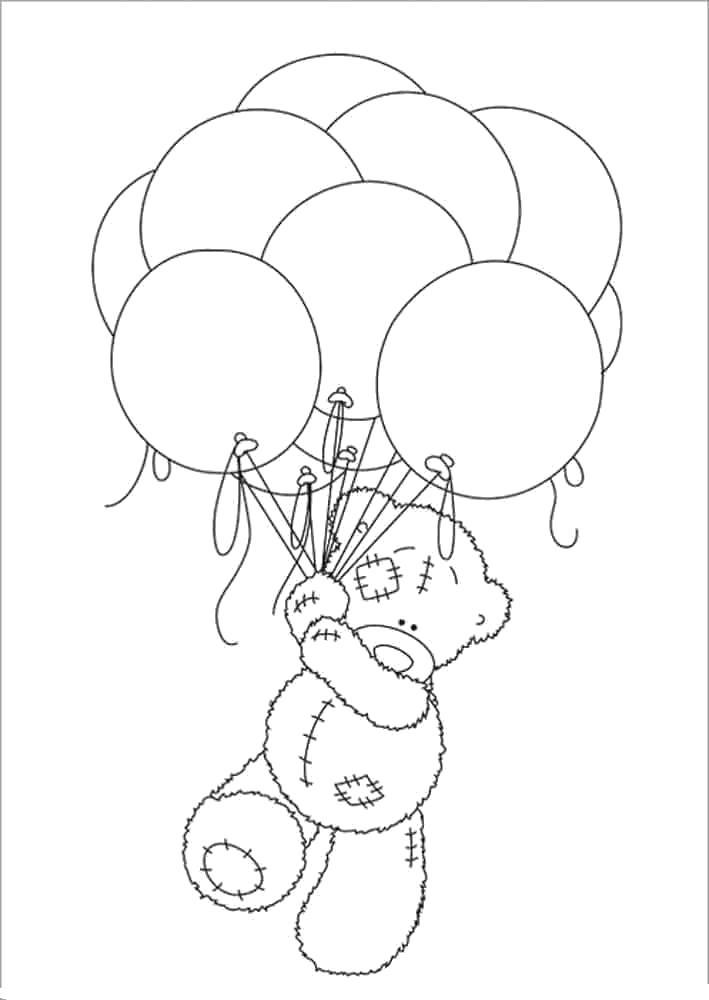 Раскраска  Мишка Тедди с шариками. Скачать Тедди.  Распечатать Тедди
