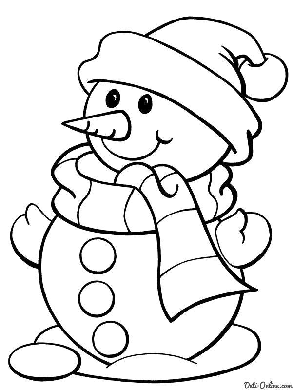 Раскраска  Снеговик в новогодней ...  Снеговик. Скачать снеговик.  Распечатать снеговик