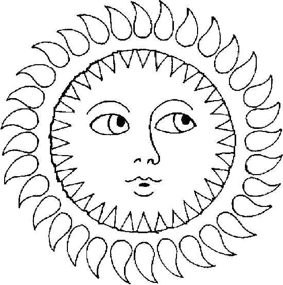 Раскраска Яркое солнце. Скачать Солнышко.  Распечатать Солнышко