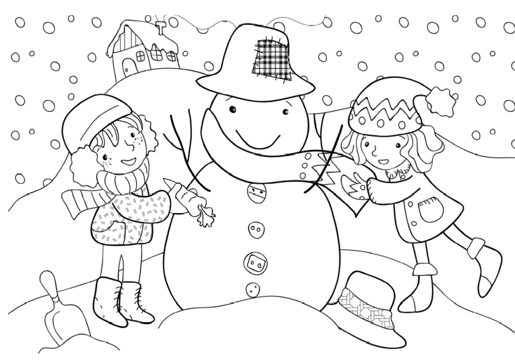 Раскраска мы слепили снеговика. Скачать снеговик.  Распечатать Зима