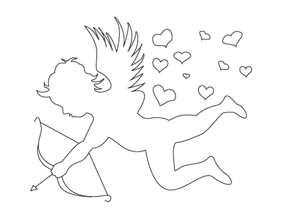Раскраска  День Святого Валентина, контур амур. Скачать день Святого Валентина.  Распечатать день Святого Валентина