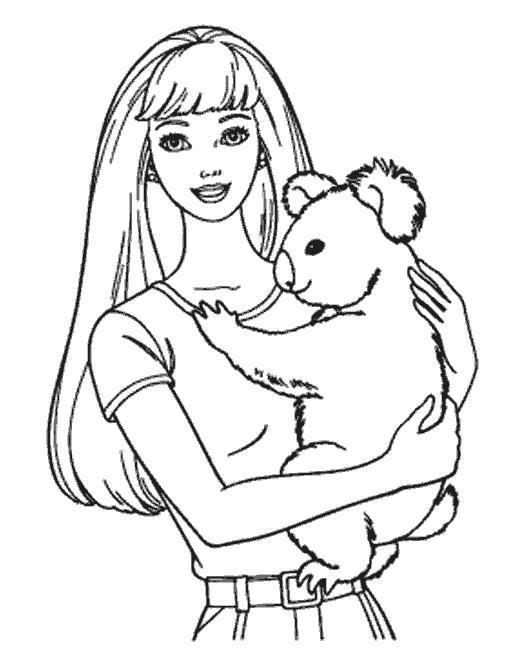 Раскраска Барби и коала. Скачать .  Распечатать