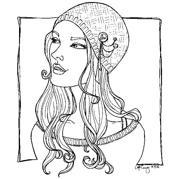Раскраска  шапка модная девушка модная шапка. Скачать прическа.  Распечатать прически