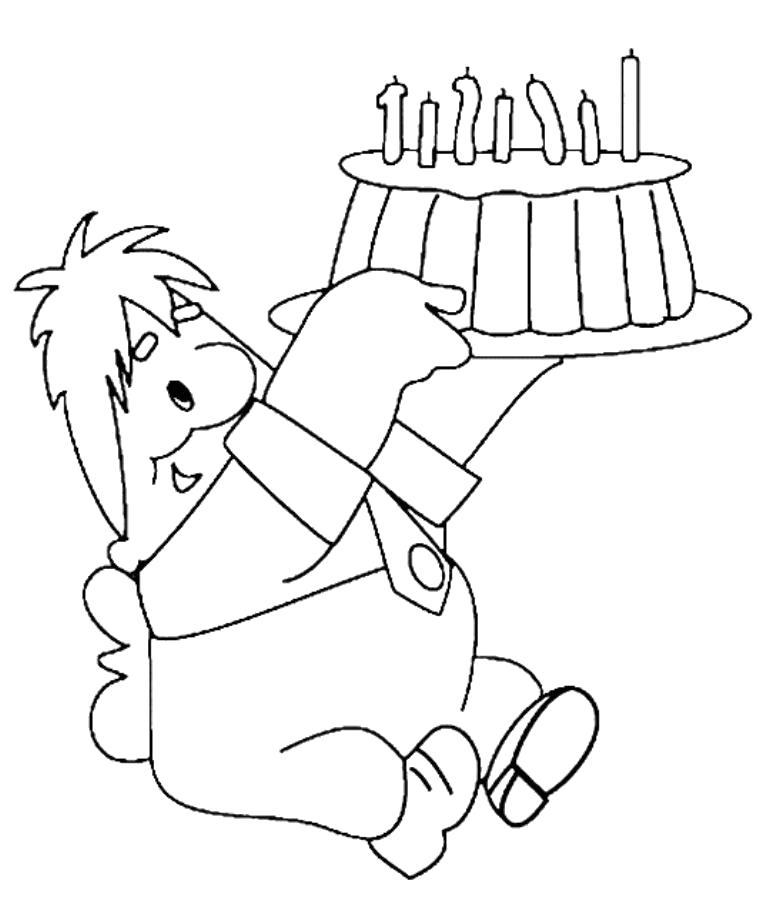 Раскраска карлсон и торт. Скачать малыш и карлсон.  Распечатать малыш и карлсон
