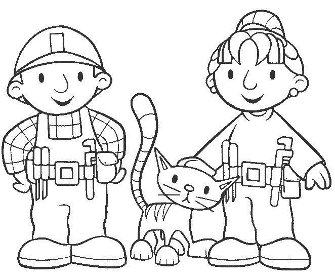 Раскраска строители с кошечкой. Скачать Строитель.  Распечатать Строитель