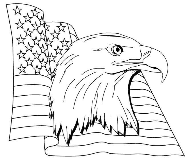 Раскраска Орёл и флаг США. Скачать .  Распечатать