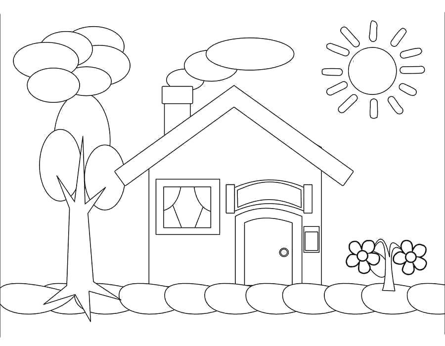 Раскраска  домик, сад, дерево, дом в саду. Скачать Дом.  Распечатать Дом