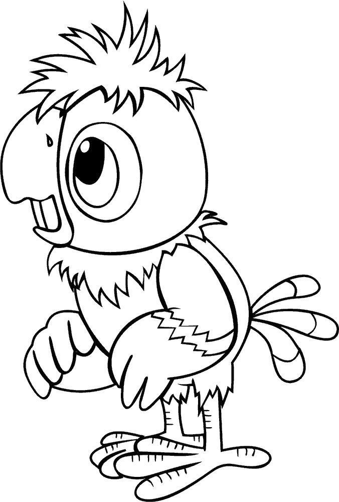 Раскраска попугай кеша, мульт. Скачать .  Распечатать