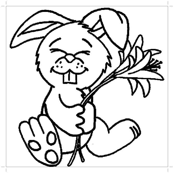 Раскраска Веселый кролик . Скачать Заяц.  Распечатать Домашние животные