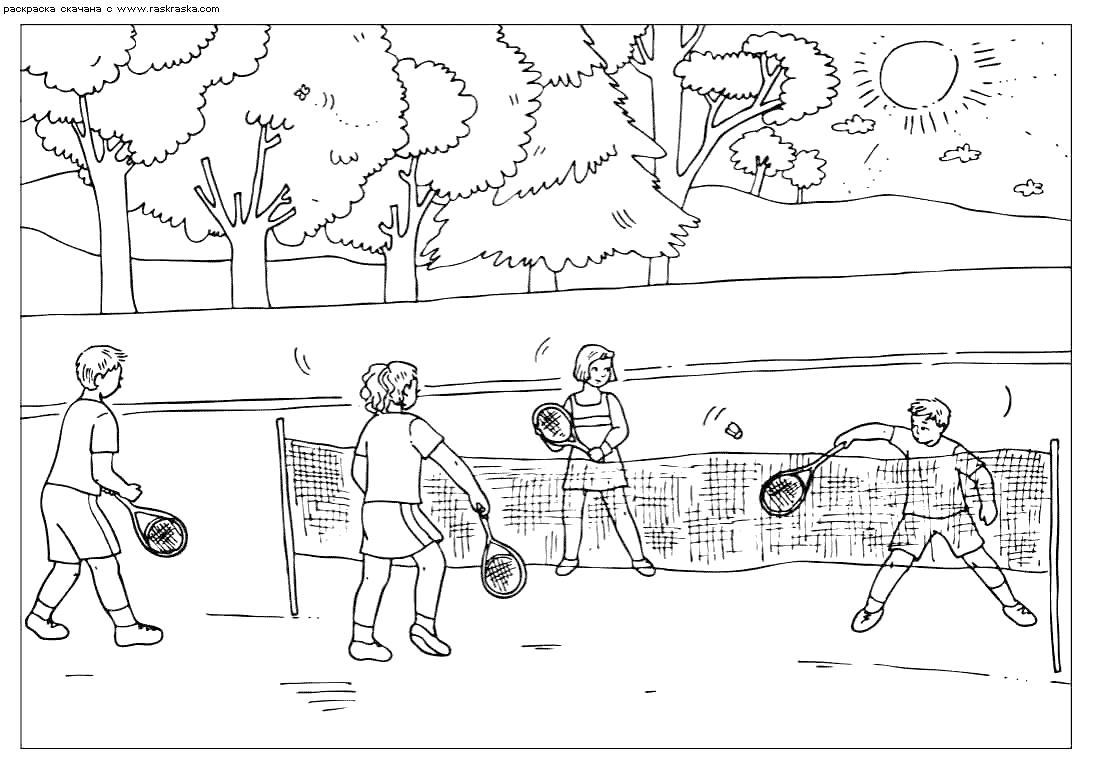 Раскраска  Игра в теннис.  Большой теннис,теннисный корт, дети играют в теннис,  спорт. Скачать Теннис.  Распечатать Теннис
