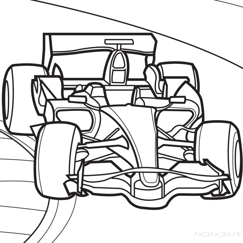 Раскраска  машина Болид Формулы один 2. Скачать Машина.  Распечатать Машина