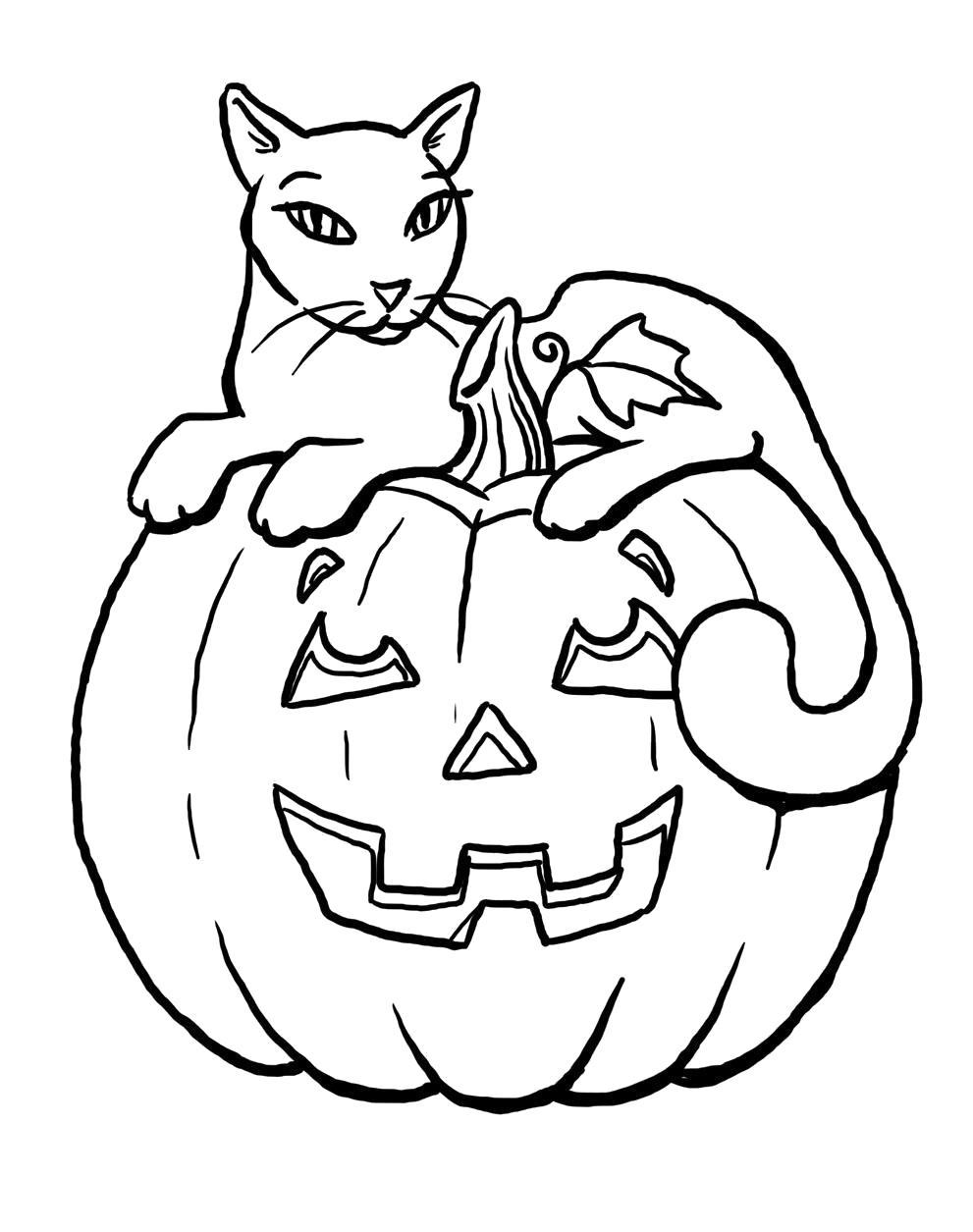 Раскраска Кошка на тыкве. Скачать тыква на хэллоуин.  Распечатать Хэллоуин