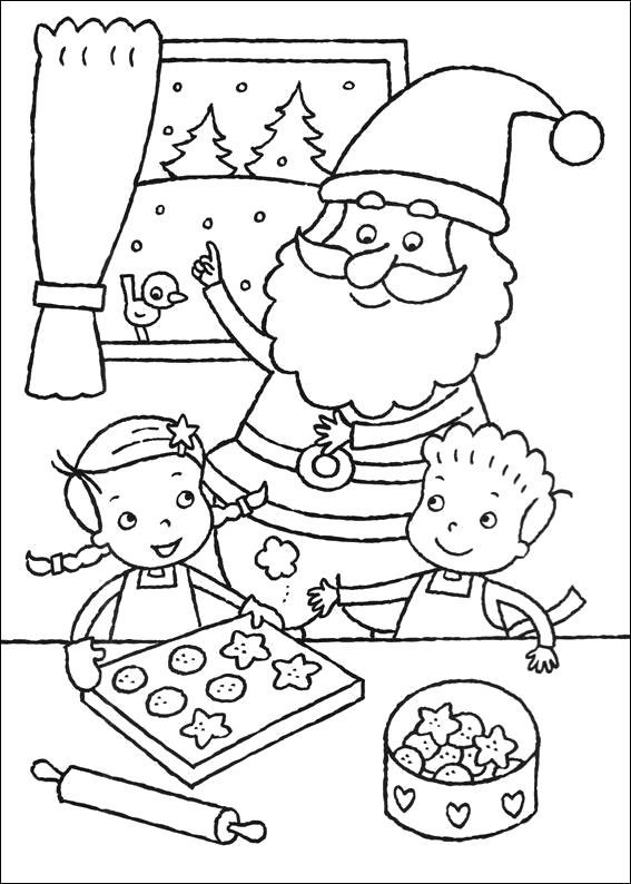 Раскраска Распечатать раскраску Новый Год. Дед мороз с детками. Скачать Дед мороз.  Распечатать Новый год