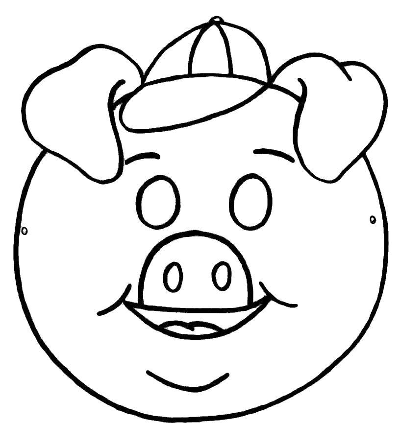 Раскраска маска свинюшки. Скачать маски.  Распечатать маски