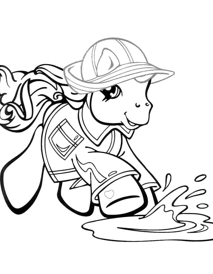 Раскраска  Пони бежит по лужам. Скачать .  Распечатать