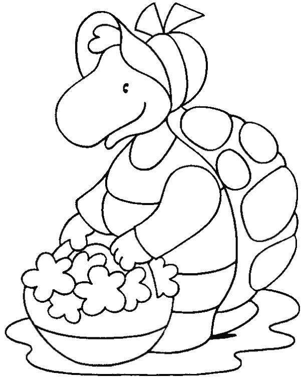 Раскраска черепашка собирает цветы. Скачать Черепаха.  Распечатать Дикие животные
