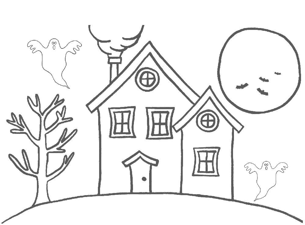 Раскраска дом с приведениями, луна, . Скачать Дом.  Распечатать Дом
