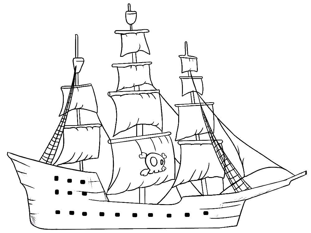 Раскраска Корабль пиратов. Скачать корабли.  Распечатать корабли