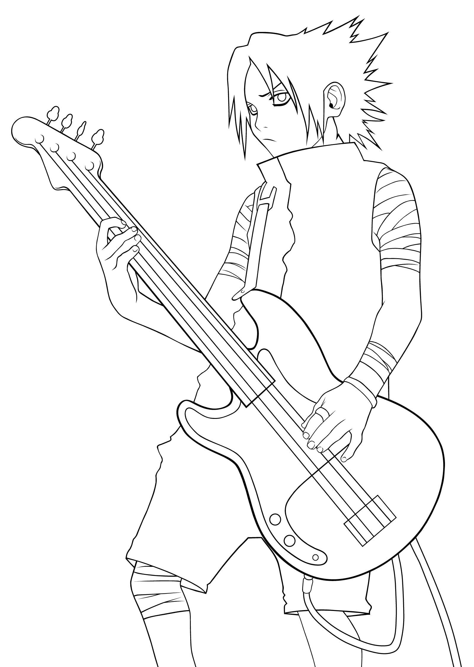 Раскраска Саске с гитарой. Скачать наруто.  Распечатать наруто