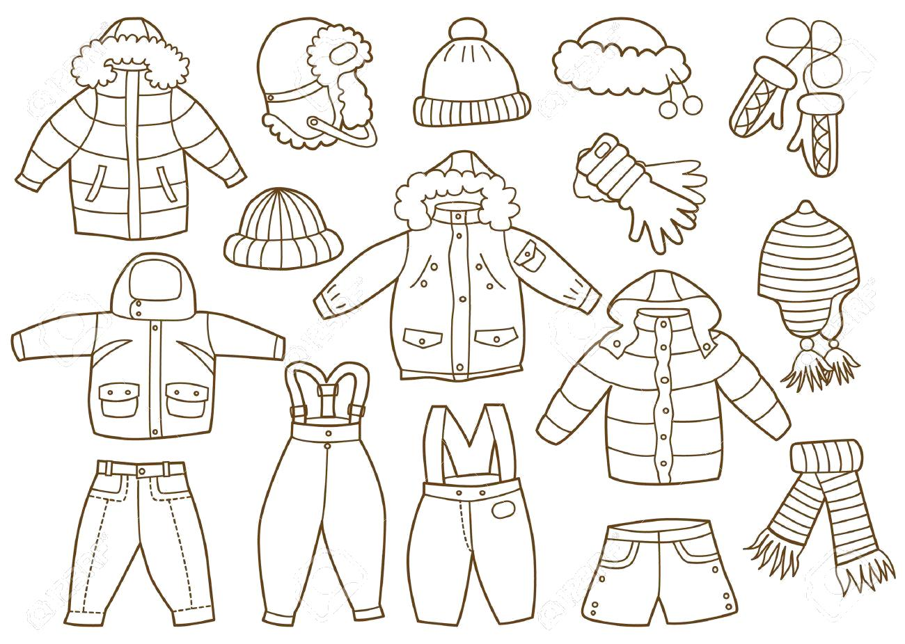 Раскраска зимняя одежда  . Скачать Зимняя одежда.  Распечатать Зимняя одежда