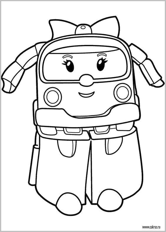 Раскраска  Робокар Поли и его друзья . Скачать Робокар Поли.  Распечатать Робокар Поли