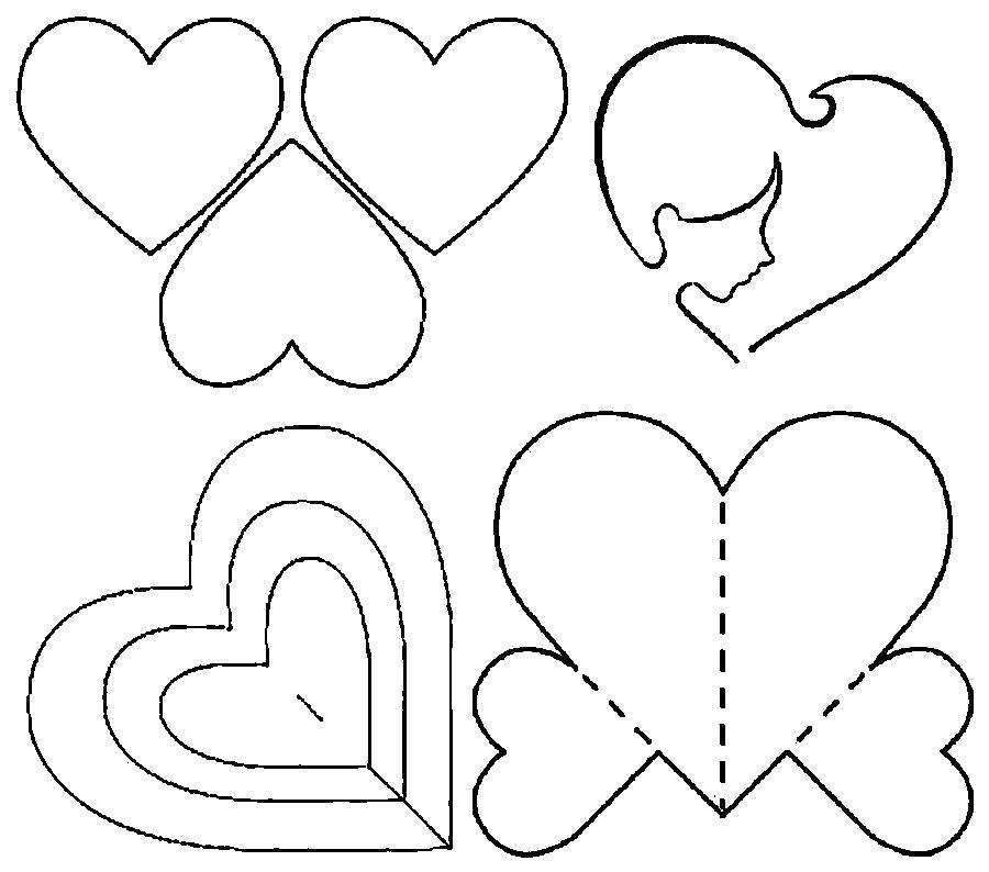 Раскраска  шаблоны сердечек для вырезания  сердца шаблоны из бумаги. Скачать Шаблон.  Распечатать Шаблон