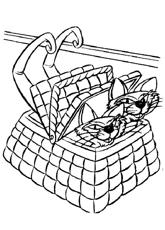 Раскраска Коты в корзиночке. Скачать Леди и Бродяга.  Распечатать Леди и Бродяга