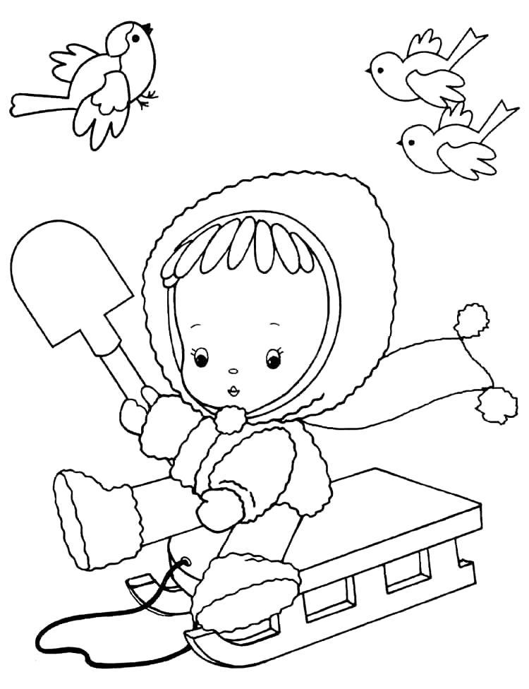 Раскраска Зимние забавы. Скачать кукла.  Распечатать кукла