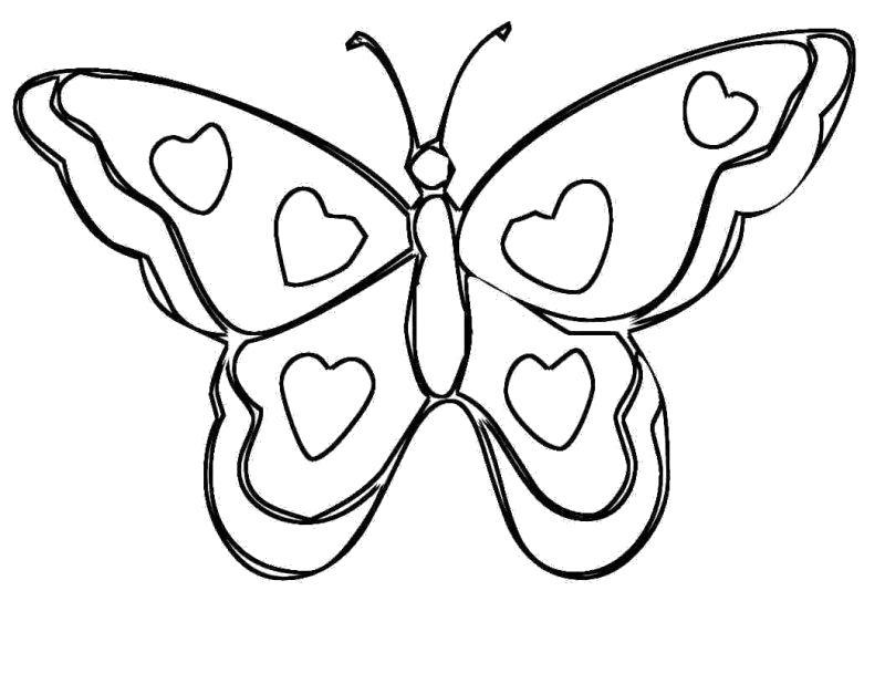 Раскраска Сердечки на крыльях. Скачать бабочки.  Распечатать бабочки