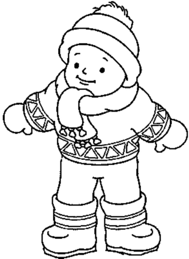 Раскраска мальчик в зимней одежде . Скачать .  Распечатать