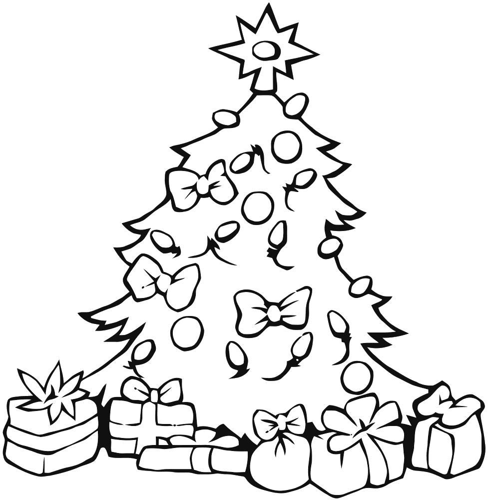 Раскраска елка с подарками. Скачать Рождество.  Распечатать Рождество