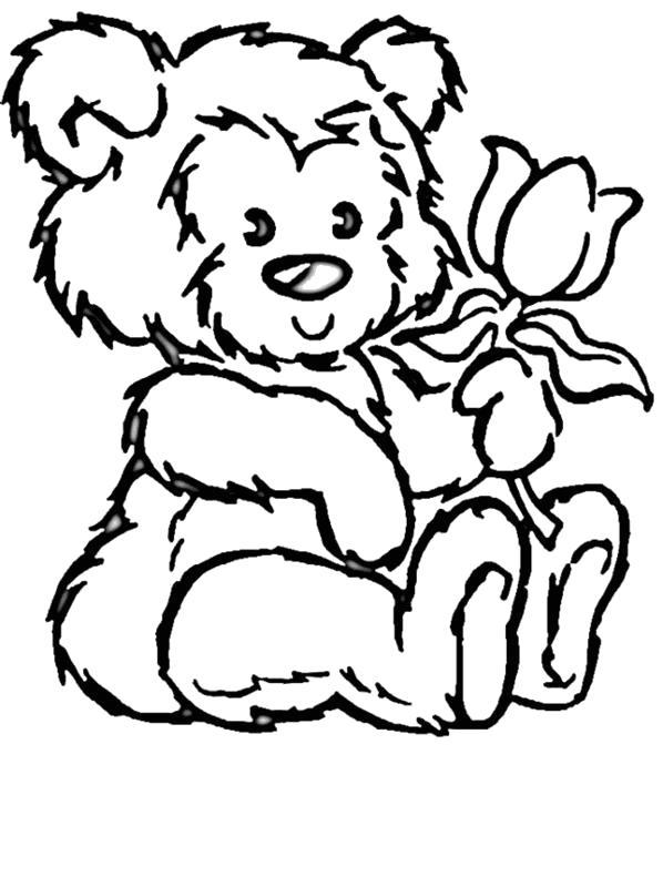 Раскраска  Плющевый медвежонок с тюльпаном. Скачать медведь.  Распечатать медведь