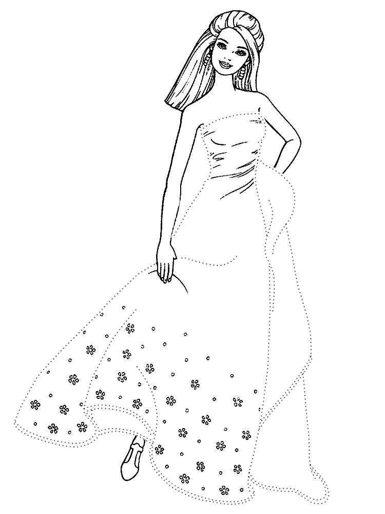 Раскраска Распечатать черно-белые картинки Барби для девочек. Обведи по точкам контур и раскрась Барби в нарядном платье.. Скачать обведи по точкам.  Распечатать дорисуй по точкам