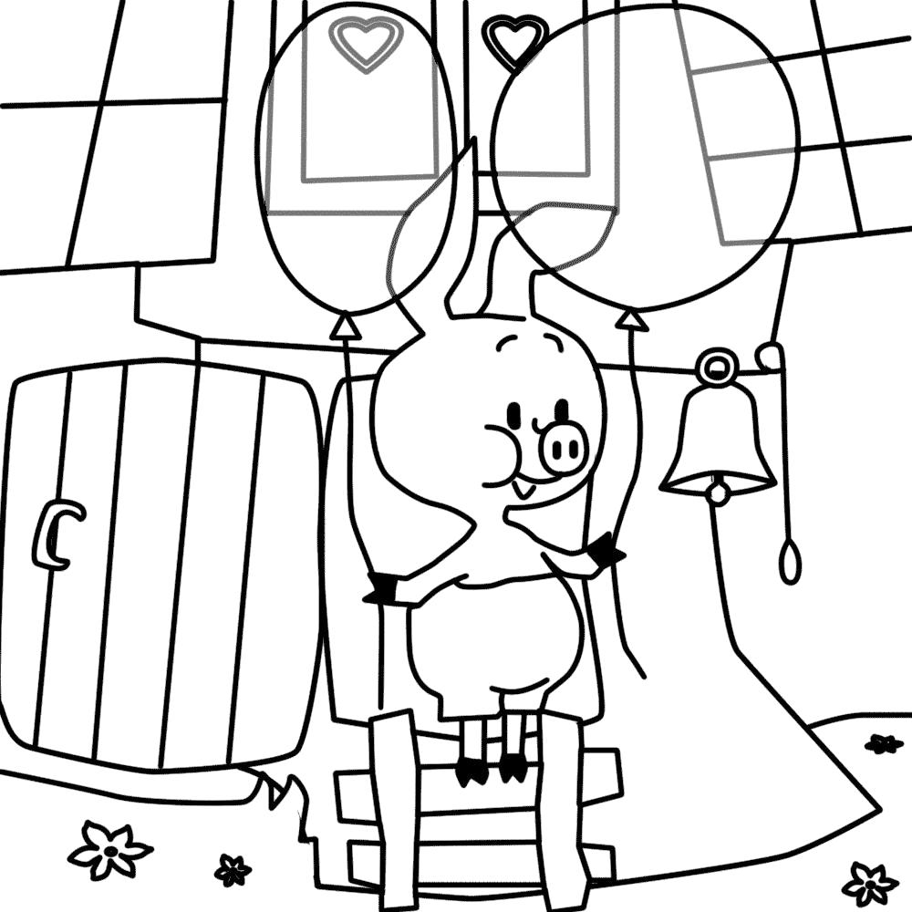 Раскраска Мультфильм Винни Пух и пятачок, пятачек вынес два шарика. Скачать .  Распечатать