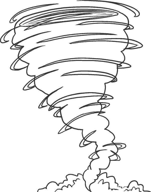 Раскраска Мощный торнадо. Скачать .  Распечатать