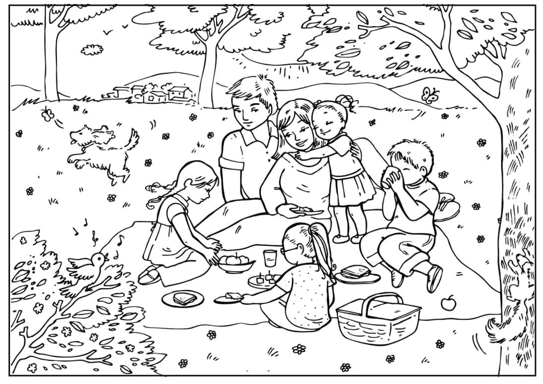 Раскраска  летний пикник в лесу. Скачать Лето.  Распечатать Времена года