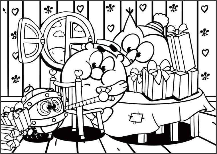 Раскраска Биби пришел на праздник к Совунье и Копатычу. Биби принес подарок.. Скачать Копатыч, Совунья, Биби.  Распечатать Смешарики