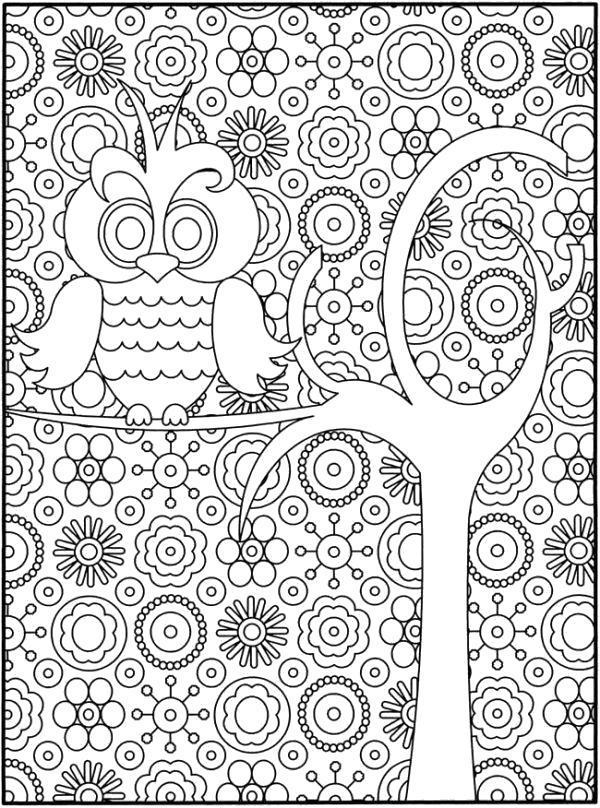 Раскраска Сова в волшебном саду. Скачать .  Распечатать
