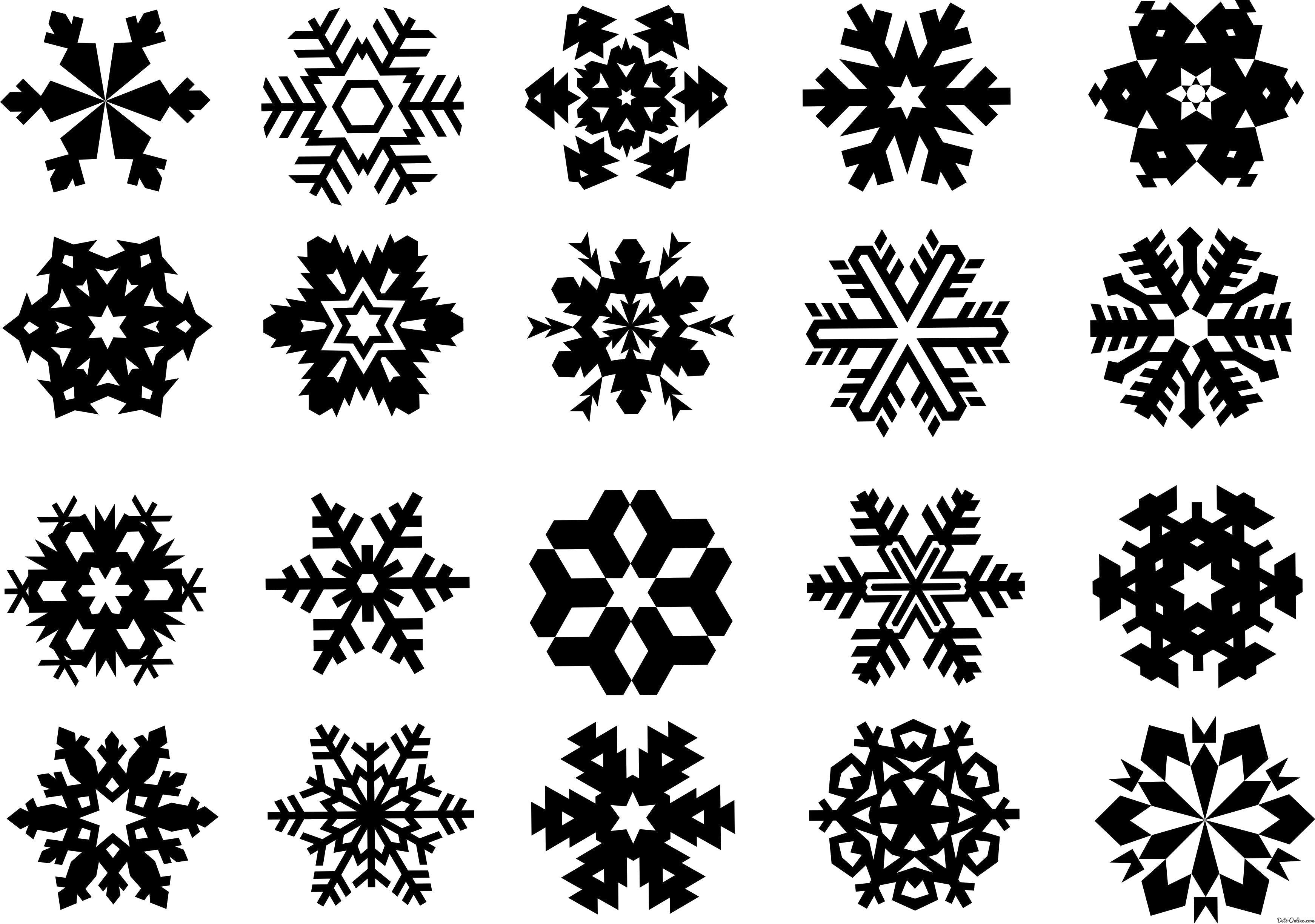 Раскраска  Набор различных снежинок. Скачать Снежинки.  Распечатать Новый год