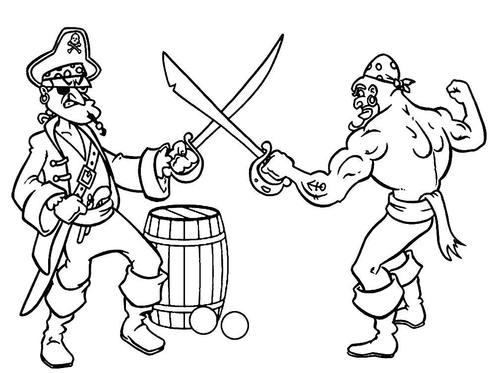 Раскраска Пираты дерутся на мечах. Рядом лежат ядра от пушки. Скачать Пират.  Распечатать Пират